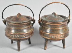 "A Pair of Souvenir Copper Patinated Three Legged Miniature Gypsy Cauldrons Both Inscribed ""Falkirk"","
