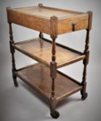 An Edwardian Oak Three Tiered Trolley with Single Top Drawer, 66cm Wide