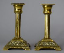 A Pair of Late 19th Century Brass Candlesticks of Ribbed Column Form on Square Plinth Bases 14cm