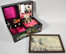 A Japanese Print on Silk Depicting Mount Fuji Together with a Lacquered Musical Jewellery Box with