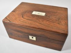 A Late 19th Century Rosewood Work Box with Hinged Lid and Inner Removable Tray, Mother of Pearl