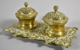A Late 19th/Early 20th Century Inkstand with Two Moulded Inkwells on Rectangular Base, 18cm wide