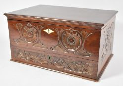 A Late 19th Century Mahogany Lift Top Workbox with Carved Front and Side Panels, Base Drawer, 35cm