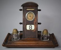 A Late Victorian/Edwardian Desk Top Inkstand Calendar with Two Ink Bottles, Date and Month