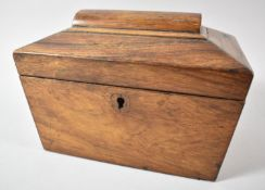 A Late 19th Century Rosewood Two Division Tea Caddy of Sarcophagus Form, Missing Ball Feet, 22cm