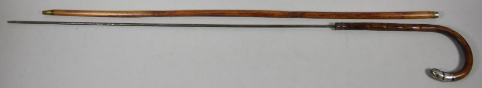 A Silver Mounted Bamboo Sword Stick with Cylindrical Blade, 94cm long