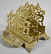 A Reproduction French Style Brass Two Division Letter Rack In the Second Empire Style, 15cm wide