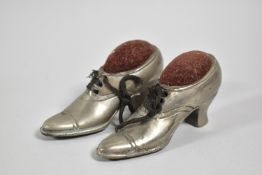 A Pair of Novelty Pewter Pin Cushions in the Form of Ladies Shoes, 10cm Long
