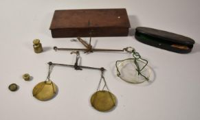 A Late 19th Century Mahogany Cased Set of Scales (Incomplete, Together with a Small Metal Cased