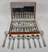 A Mid 20th Century Cooper Ludlam Canteen of Silver Plated Kings Pattern Cutlery Together with a Pair
