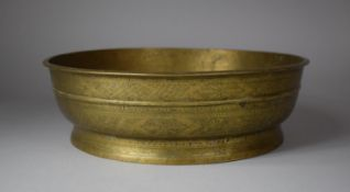 A Circular Indian Bronze Bowl, the Sides Intricately Engraved with Leaves and Geometric Patterns,