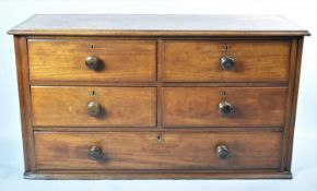 A 19th Century Mahogany Housekeepers Cupboard Base with Four Short and One Long Drawers, 118cm Wide