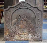 An Early 19th Century Nice Quality Heavy Cast Iron Fire Back Decorated In Relief with Aesop's Fable,