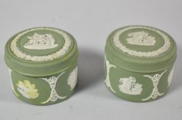 A Pair of Wedgwood Green Jasperware Boxes, Each 7cm Diameter