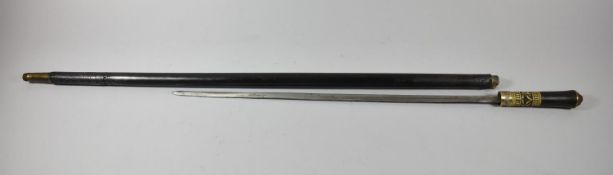 A Colonial Anglo Indian Cylindrical Sword Stick of Tapering Form, 90cm Long