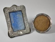 Two Silver Mounted Photograph Frames, The Rectangular Example 21cm High
