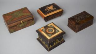 A Collection of Four Various Inlaid and Brass Mounted Continental and Far Eastern Boxes