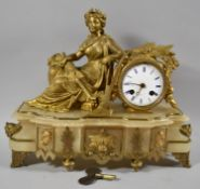A French Ormolu and Alabaster Figural Mantle Clock on an Agricultural Theme with Seated Maiden
