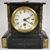 A French Slate and Marble Mantle Clock of Architectural Form, with Key and Pendulum, 20cm high