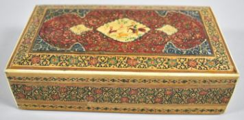A North Indian or Persian Decorated Box, The Lid Decorated with Hunting Scene, 16cm wide