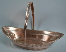 A Former Sheffield Plated Boat Shaped Basket with Pierced side and Swag Decoration, 32.5cm wide