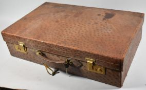 A Vintage Ostrich Skin Suitcase Monogrammed B.A.M, 61cm Wide, With Key