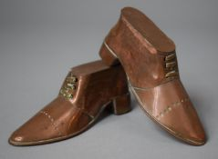 A Pair of Novelty Late Victorian Copper Ornaments in the Form of Boots, 9cm Long