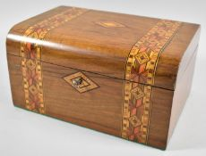 A Late 19th Century Banded Inlay Dome Top Work Box, Missing Inner Tray, 27.5cm wide