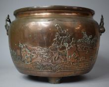 A Japanese Bronze Two Handled Jardiniere Decorated in Relief with Family Beside River, On Three