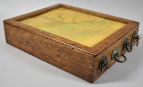 An Edwardian Wooden Cased Four Scroll Motorist's Rolling Map, South England, 27cm x 22cm