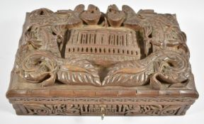 A Late 19th/Early 20th Century Deeply Carved Teak Souvenir Box for the Taj Mahal, India, Hinged