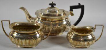 A Three Piece Silver Plated Tea Service
