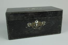 19th Century Ebony Tea Caddy