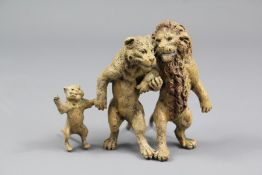 Cold Painted Bronze Group of Lions