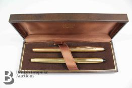 Vintage Gold Plated Cross Fountain and Ball Point Pen Set
