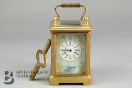 Miniature Brass and Porcelain Carriage Clock