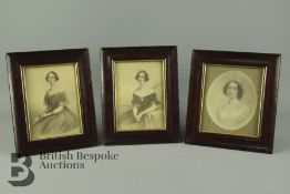 Three Victorian Portrait Miniatures Prints