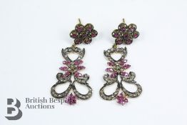 14ct Yellow Gold Ruby and Diamond Cluster Earrings