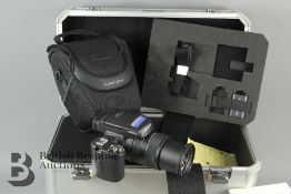 A Sony CyberShot DSC-R1 Camera and Sony Hard Camera Case