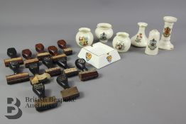 Miscellaneous Lot - Crested Ware and Baumgarten US Rubber Stamps
