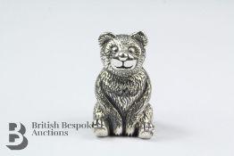 Miniature Bear Silver Pin Cushion