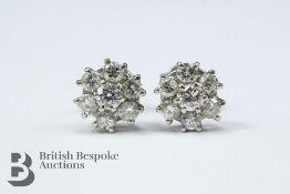Pair of 18ct White Gold Diamond Cluster Earrings