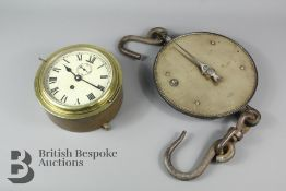 Brass Marine Clock and Salter Scales