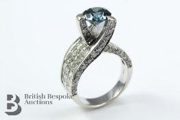 Sophia Fiori Venezia 14k White Gold and Blue Diamond Engagement Ring