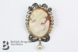 Continental Diamond and Pearl Shell Cameo Brooch