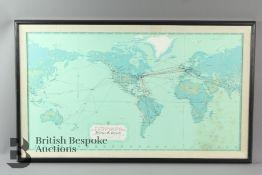 A Pan American Clipper Club World Map of Pilot Walter B. Wentz