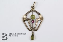 9ct Ruby and Peridot Suffragette Pendant