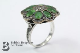 9ct Gold, Silver, Emerald Dress Ring