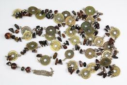 A Chinese Hardstone and Antique Coin Necklaces