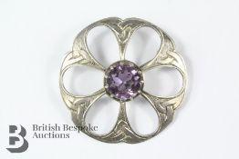 Scottish Silver and Amethyst Brooch